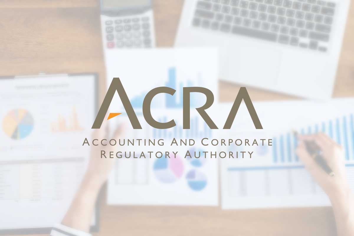 acra logo overlaying audit papers in the background. acra governs the criteria for audit exemption requirements for Singapore companies