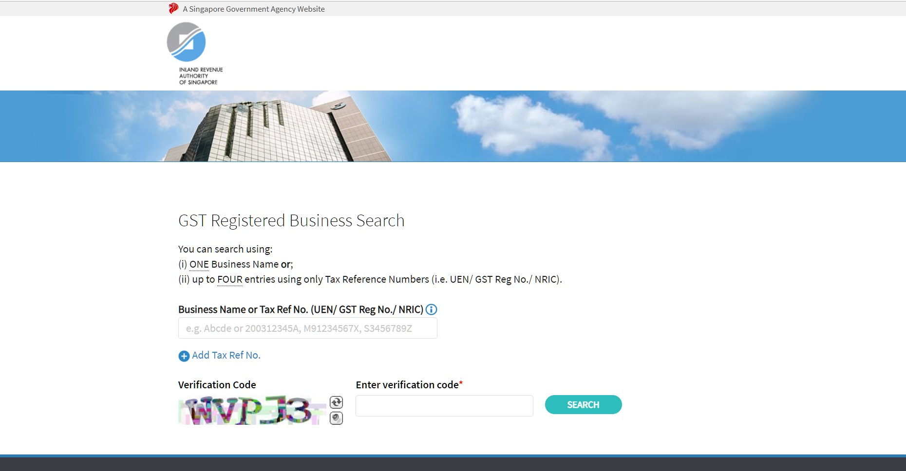 screenshot of the online tool to check gst registration for singapore businesses and companies on the iras website