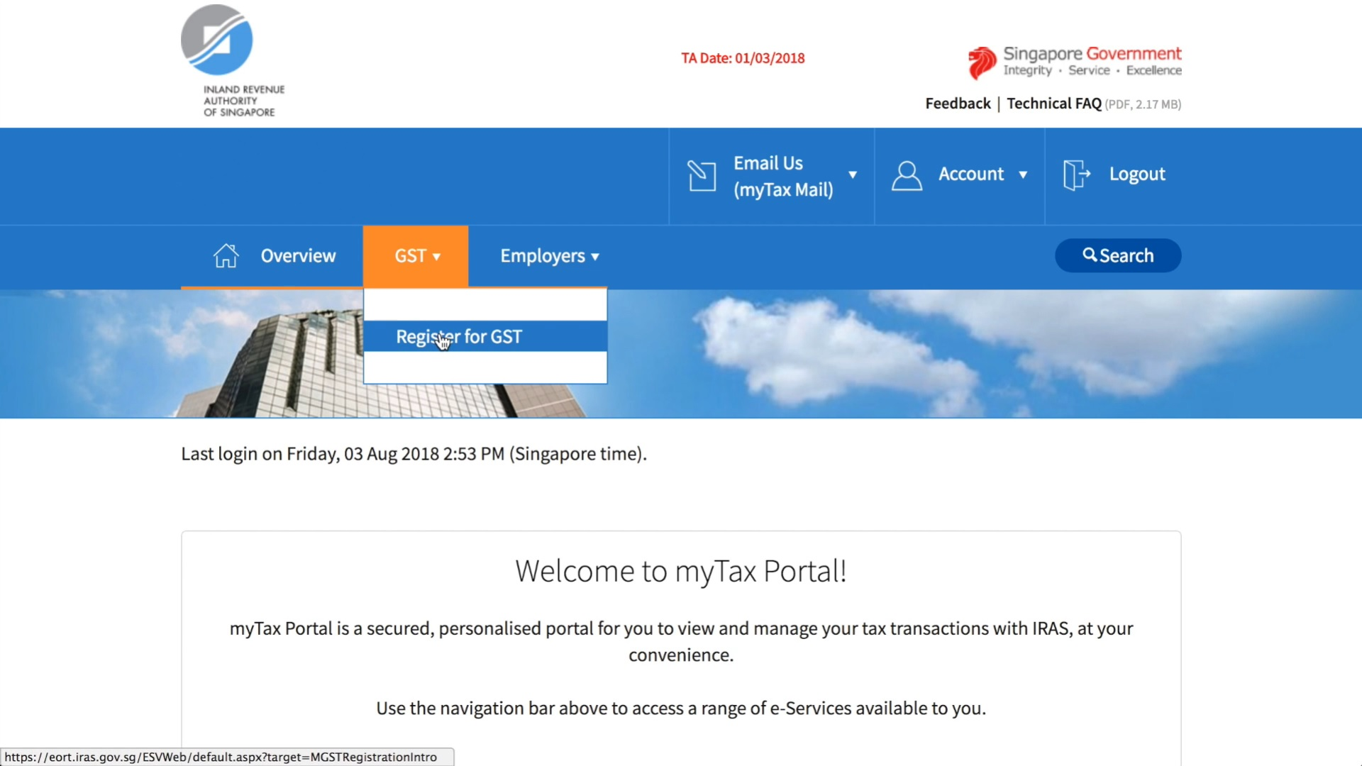 myTax Portal page screenshot taken from the iras video guide on acquiring a gst registration number for companies in singapore