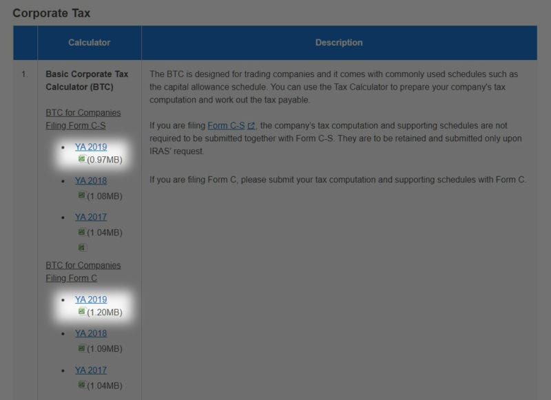 screenshot of the iras tax calculator list page with the latest basic corporate tax calculators highlighted