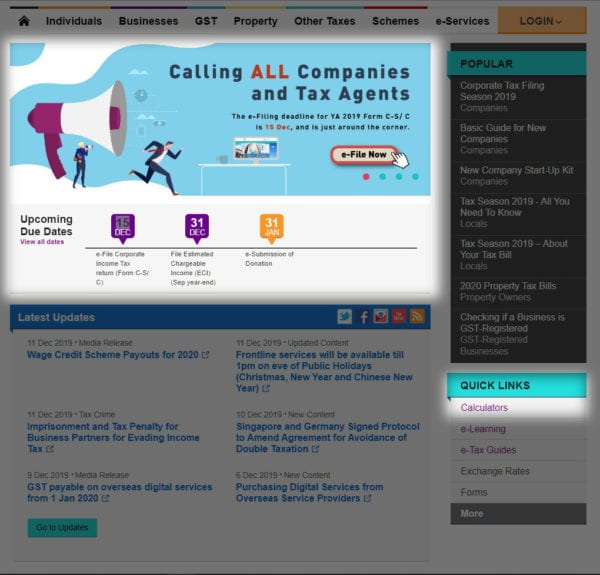iras homepage with quick link to tax calculator list highlighted