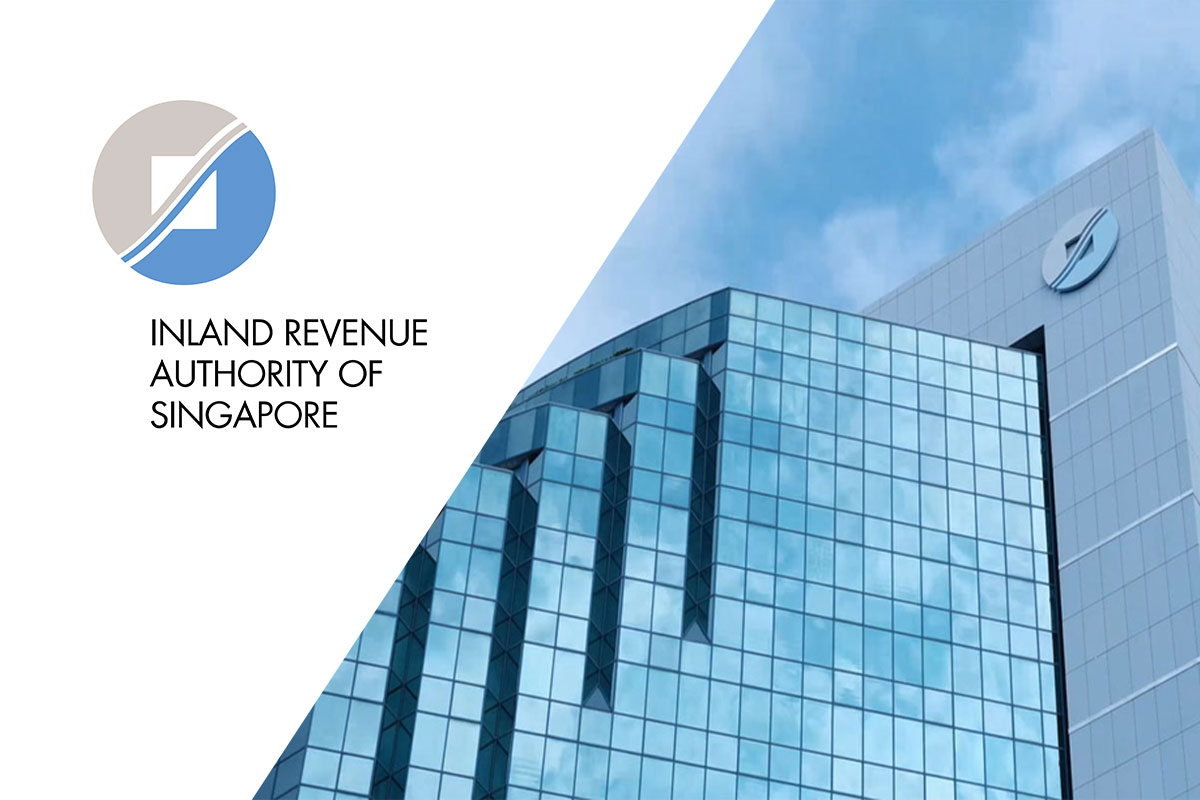 government logo and office building of the Inland Revenue Authority of Singapore or IRAS
