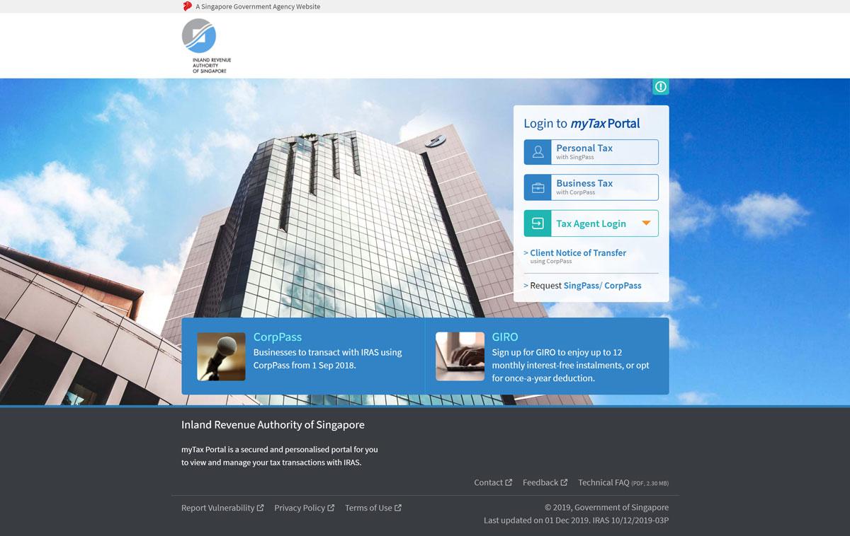 IRAS myTax Portal login screen