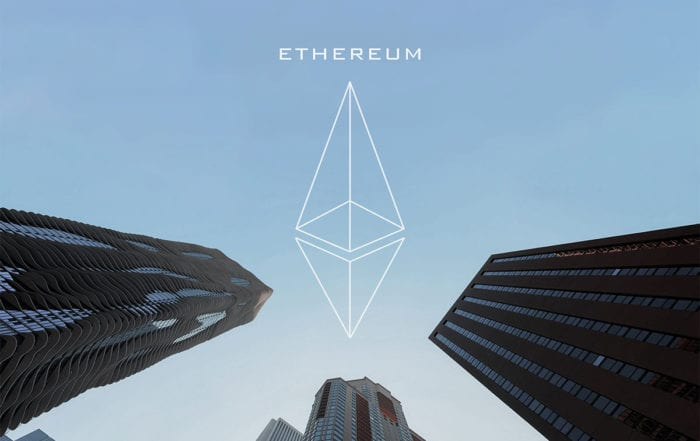 Blockchain technology Ethereum cryptocurrency white logo and text against background of corporate buildings
