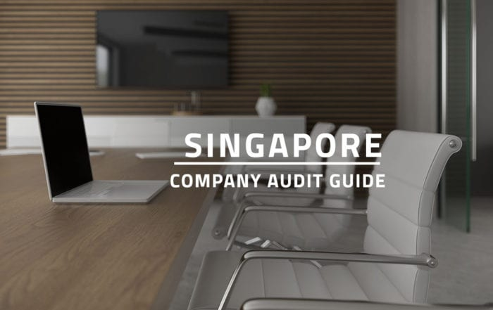 words Singapore company audit guide overlaying background of a company meeting room